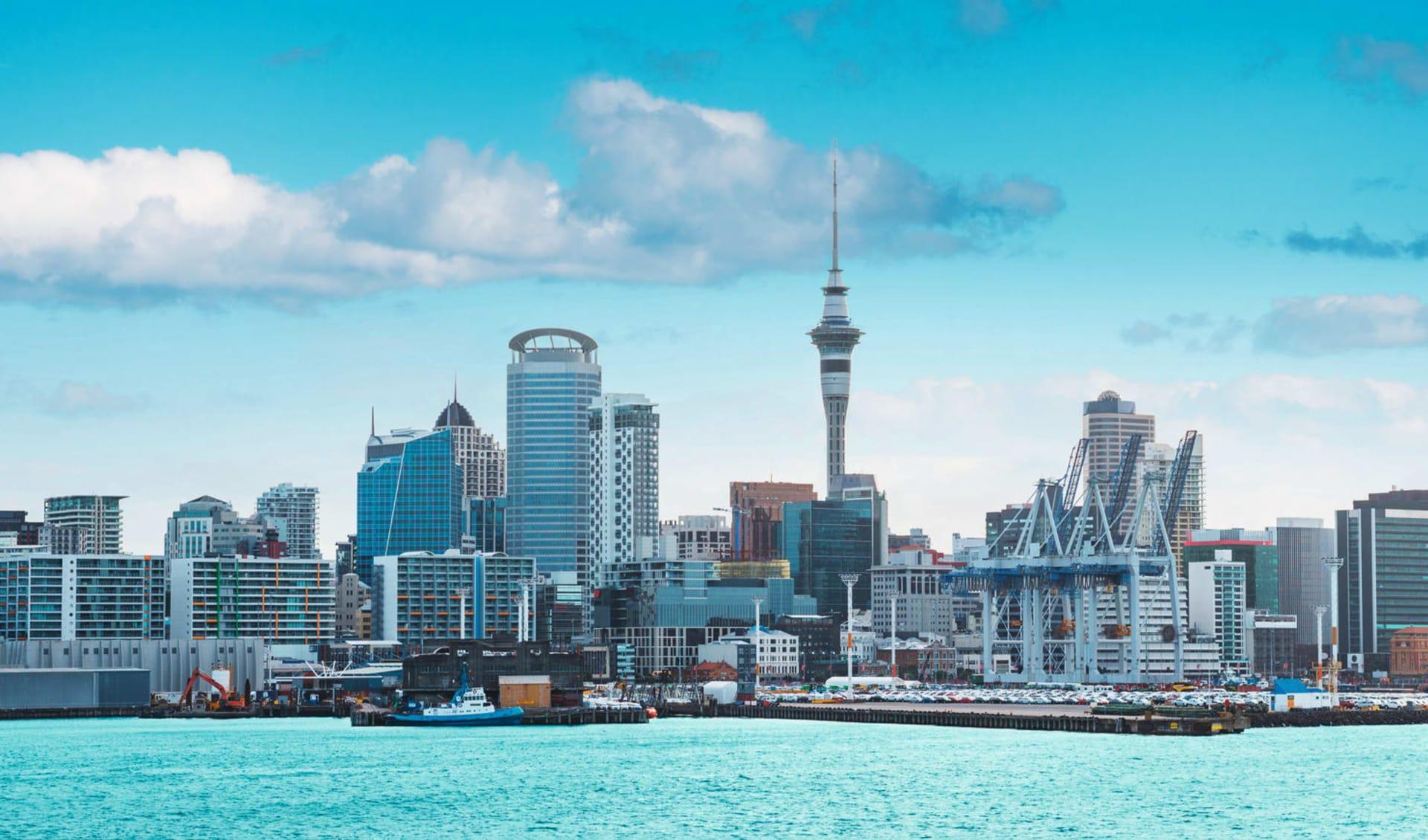 Kiwi Encounter ab Auckland: Neuseeland - Stadt Auckland - Sicht von Hafen auf Stadt cShutterstock