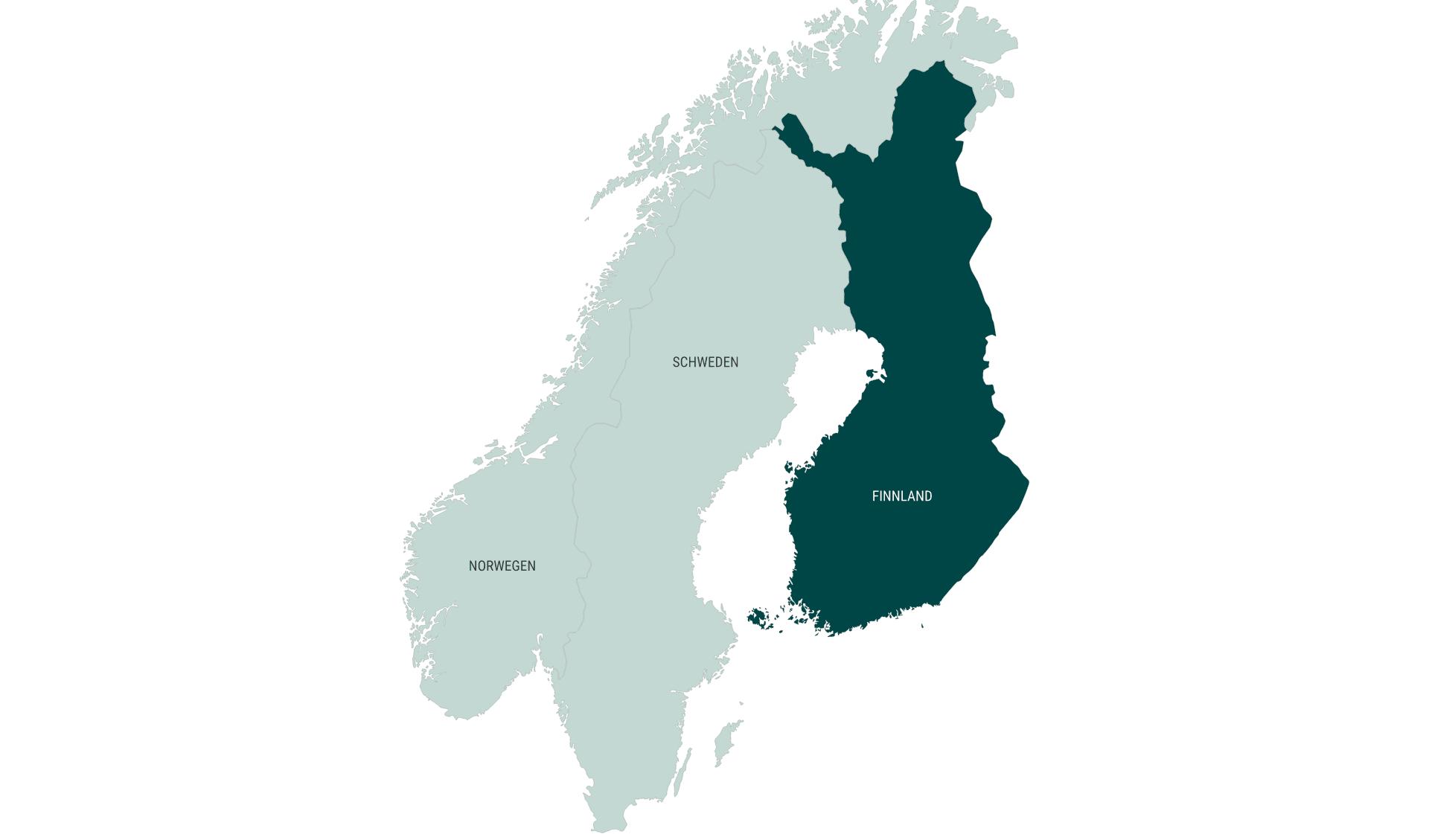 Karte Mietwagenrundreisen länderübergreifend Finnland
