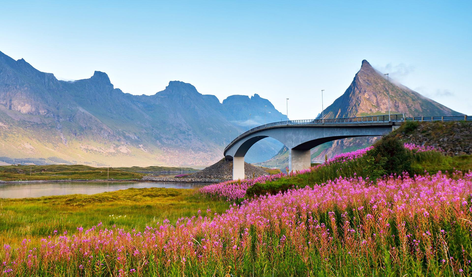 Brücke, Lofoten, Norwegen