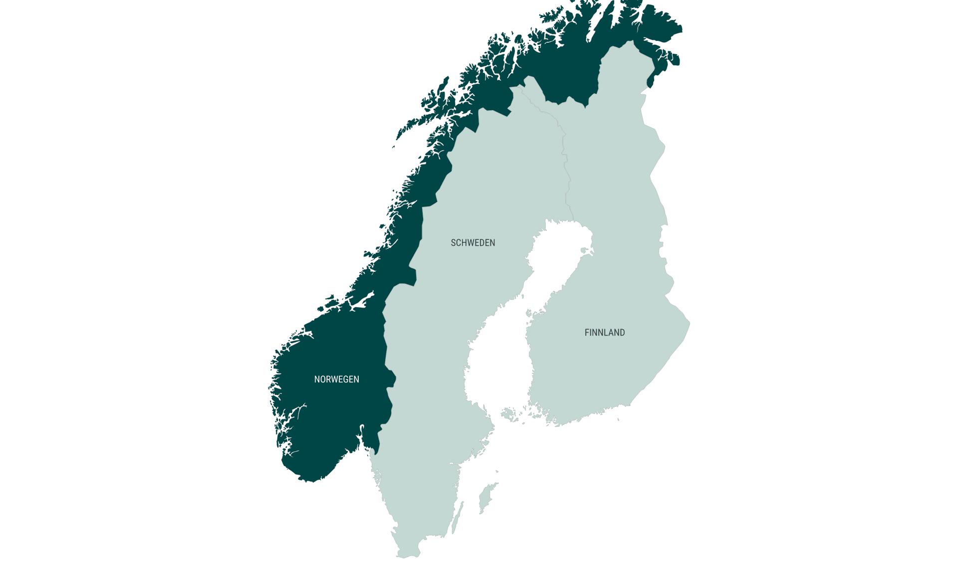 Karte Mietwagenrundreisen länderübergreifend Norwegen