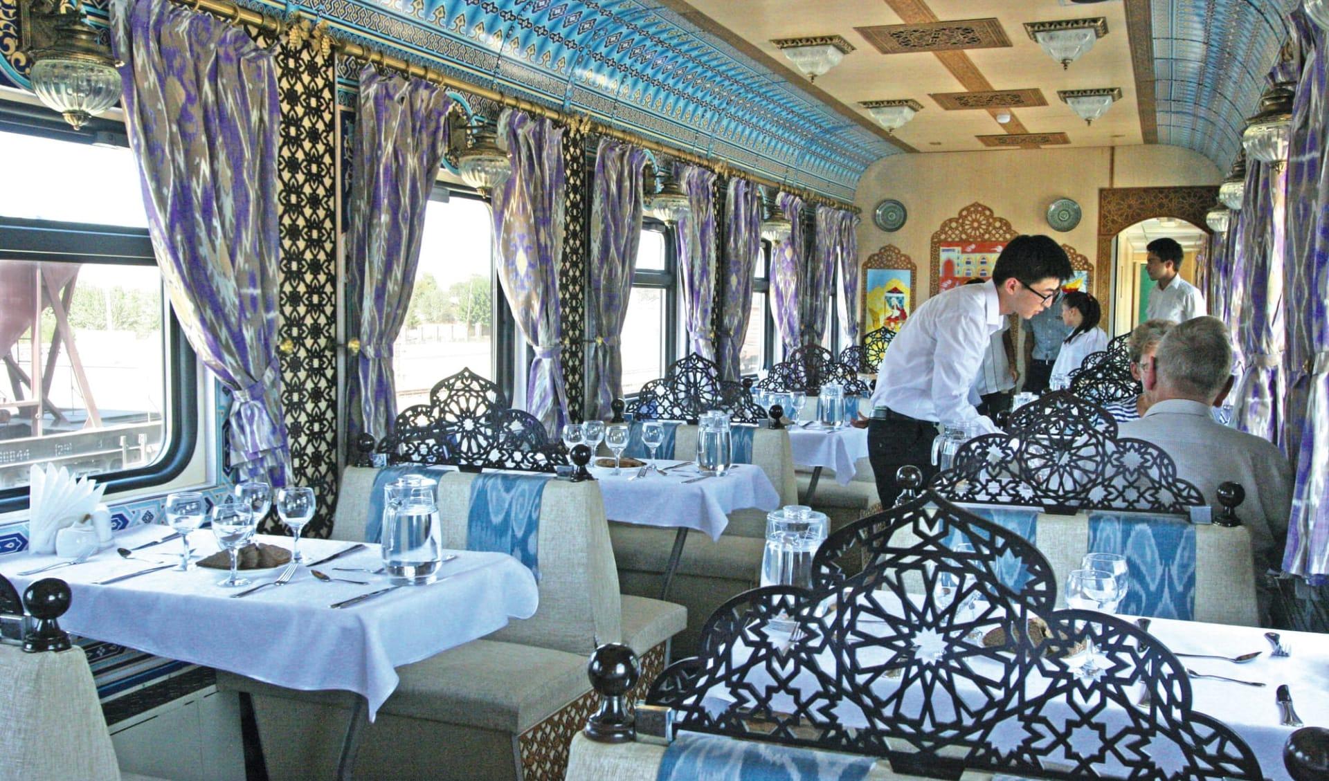 Registan - von Aschgabad nach Almaty ab Ashgabat: Sonderzug_Zentralasien_Registan_Speisewagen