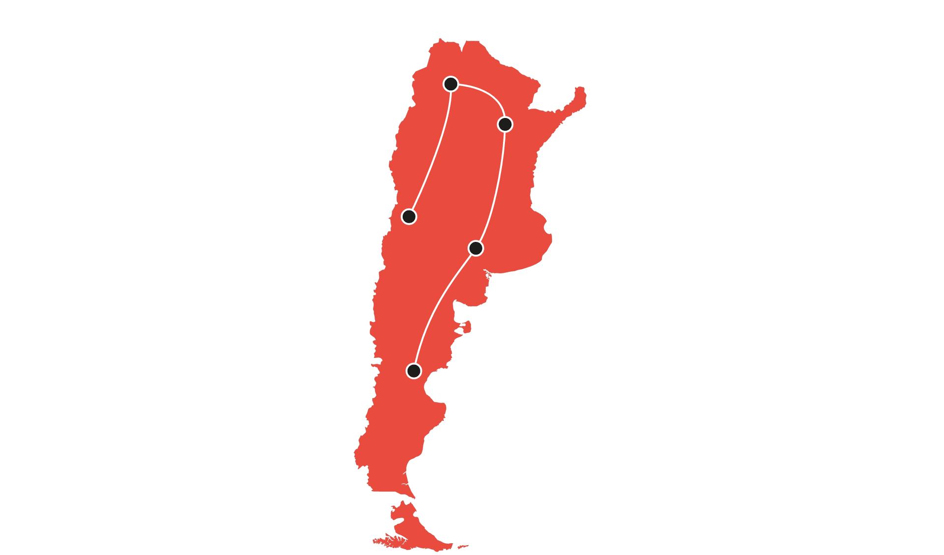 Karte Rundreisen 8-25 Tage Argentinien