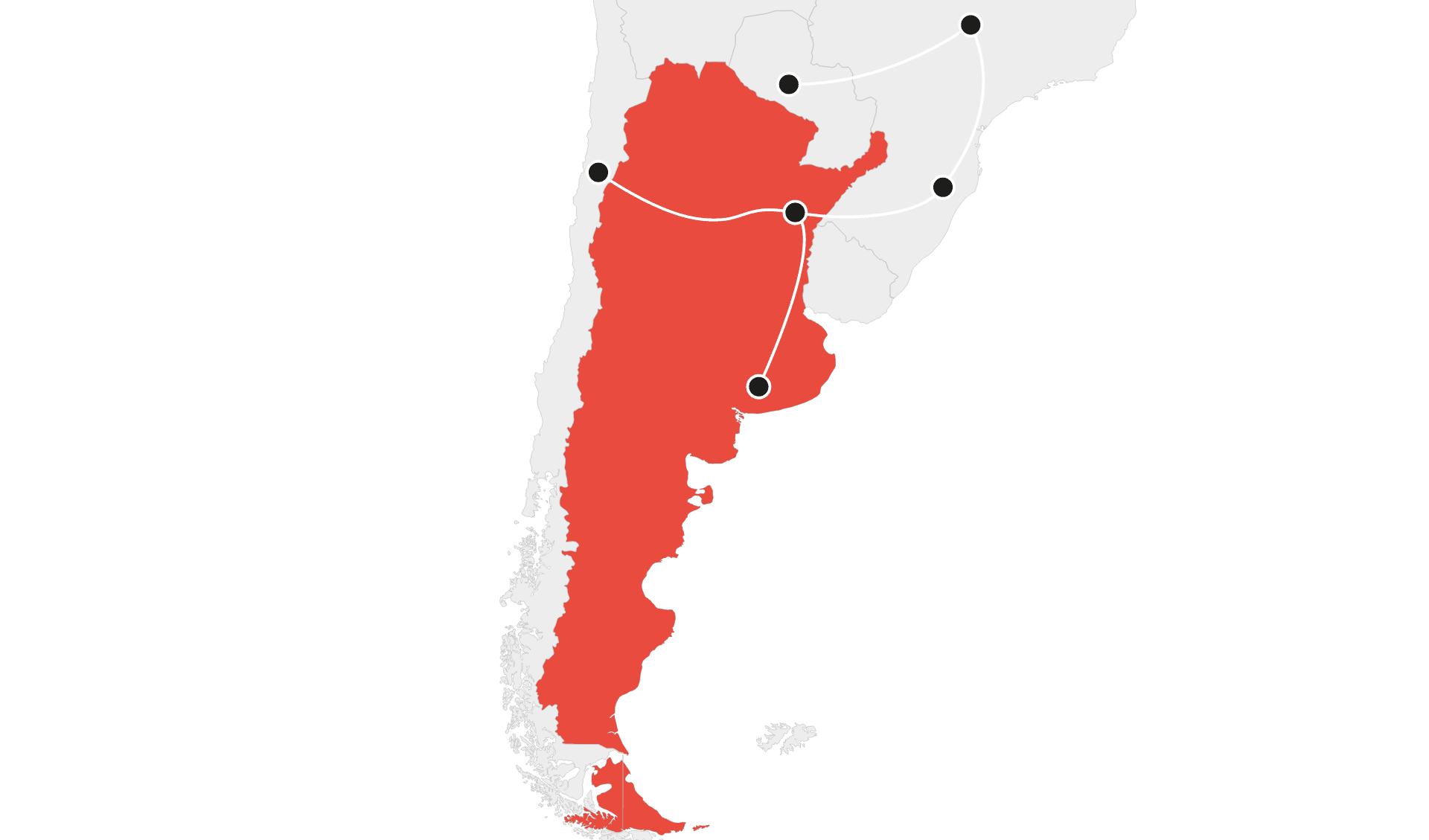 Karte Rundreisen länderübergreifend Argentinien