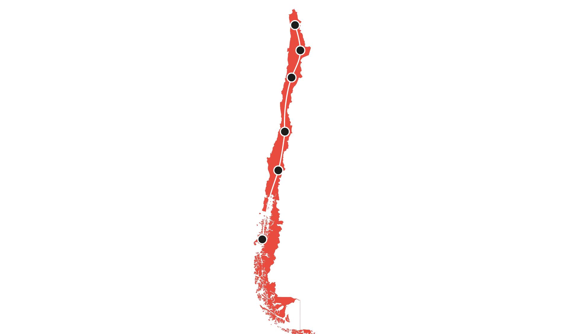 Karte Rundreisen Chile 8 - 25 Tage