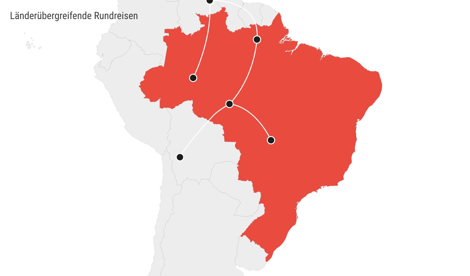 Karte Chile Rundreisen länderübergreifend