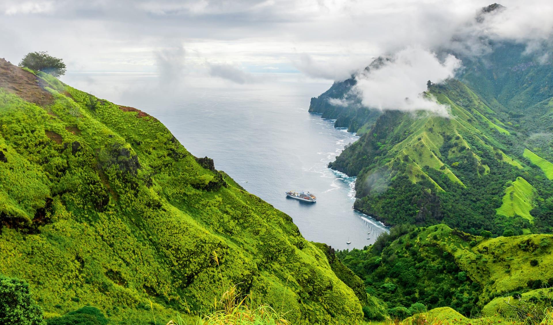 Fatu Hiva bay, Marquesas island, Französisch Polynesien