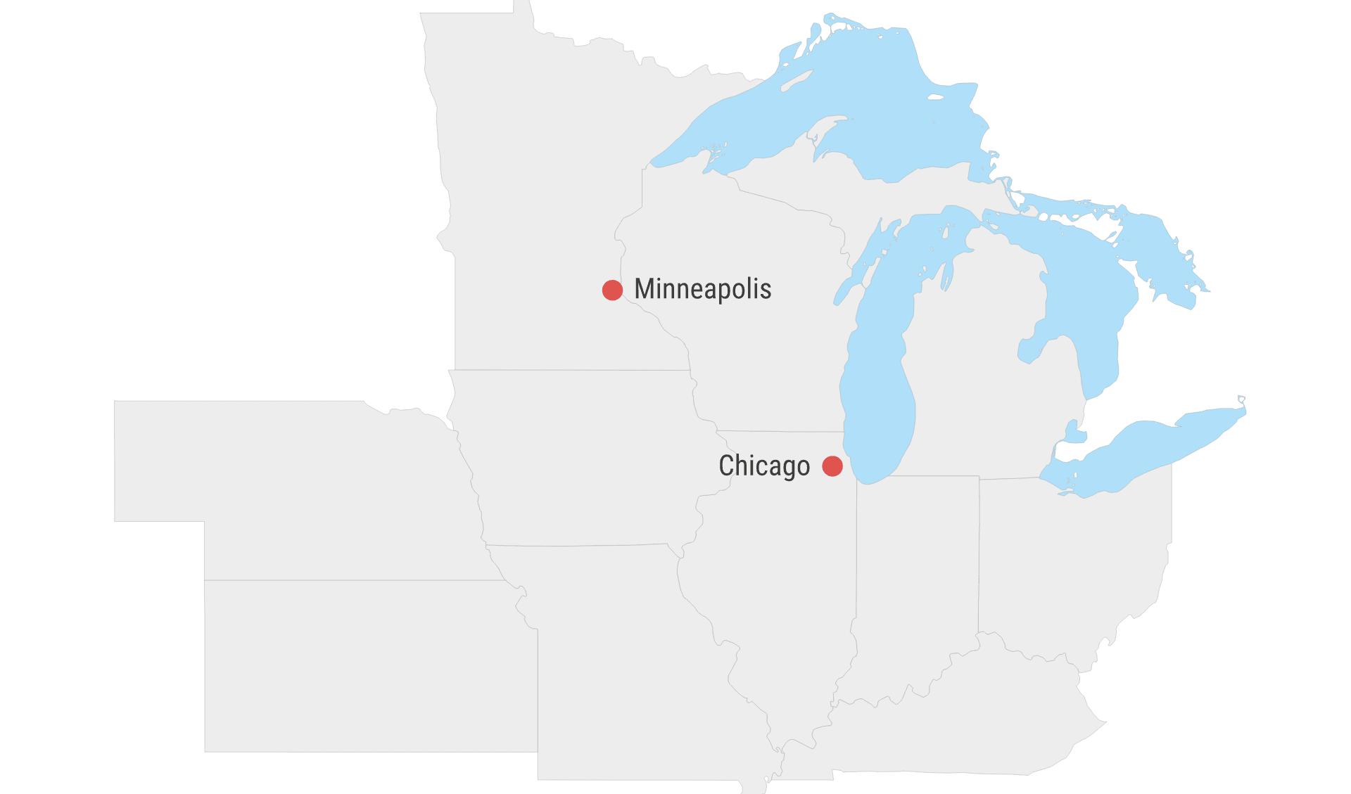 Map Mittlerer Westen