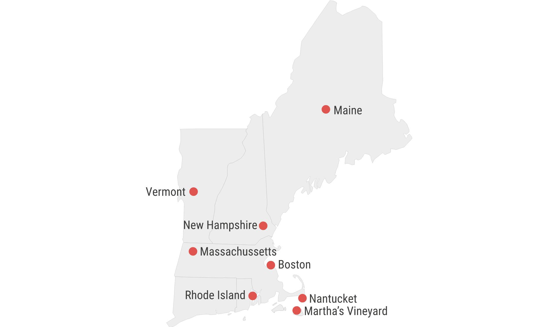 Karte New England