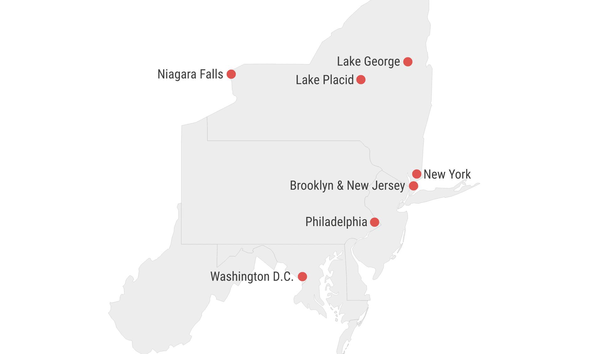 Map USA Osten
