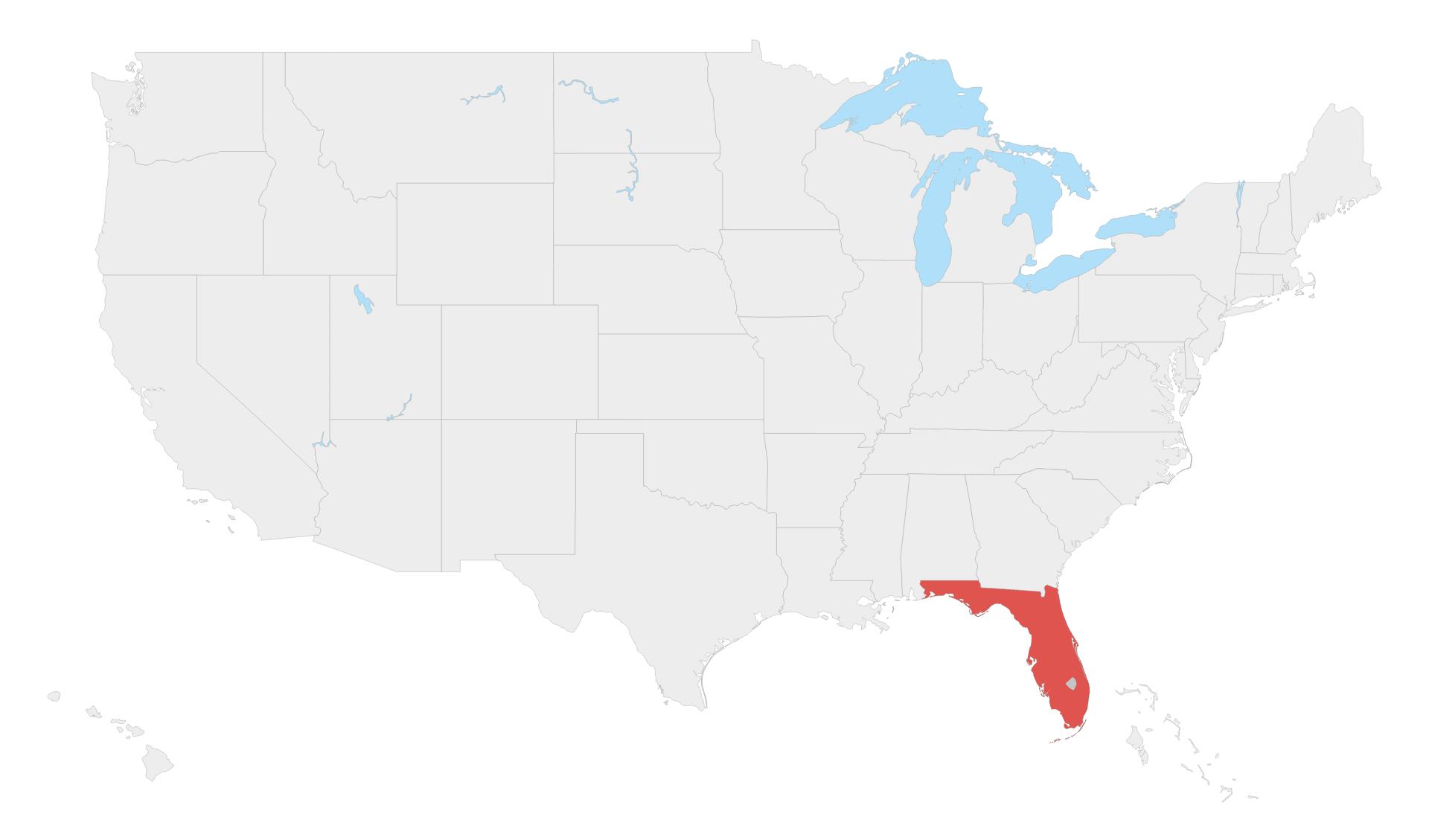 Karte Florida, USA