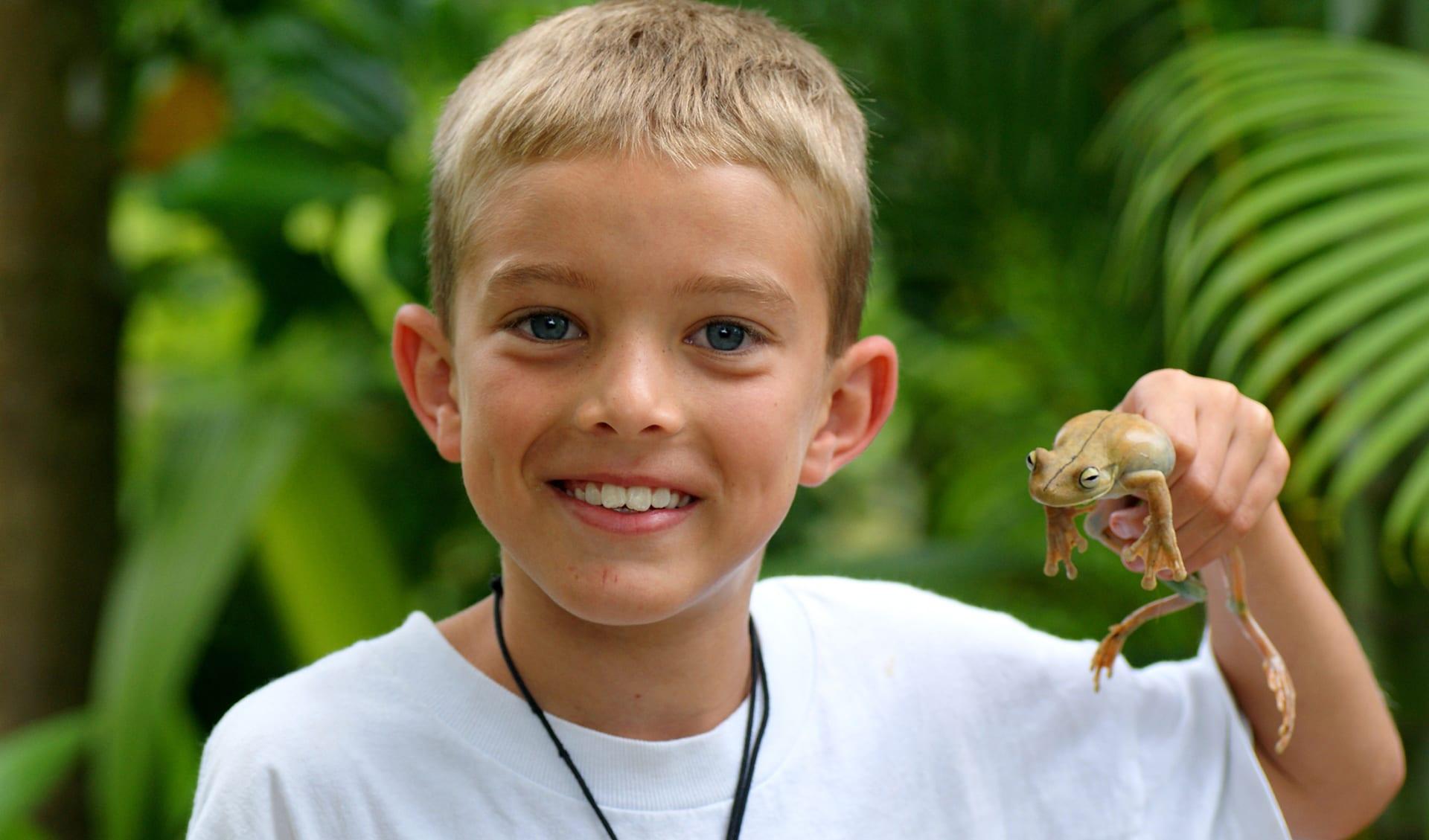 Junge, der einen riesigen Baumfrosch im Regenwald von Costa Rica hält