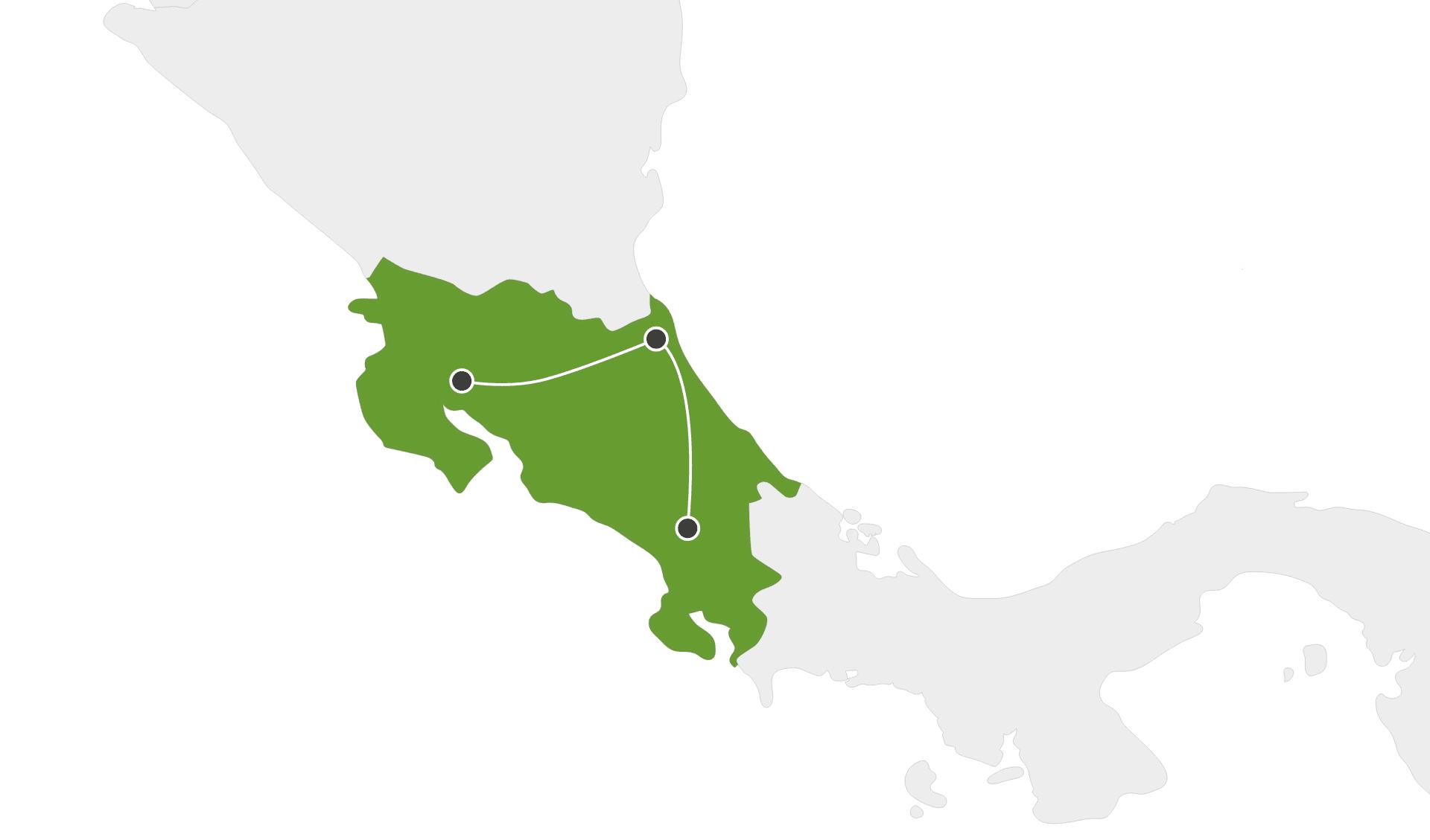 Karte Rundreisen Costa Rica