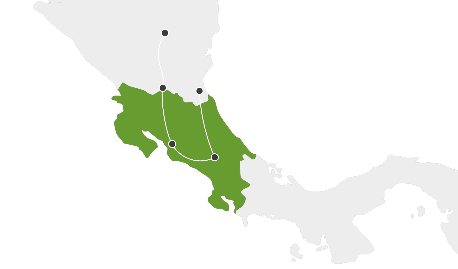 Karte Rundreisen länderübergreifend Costa Rica