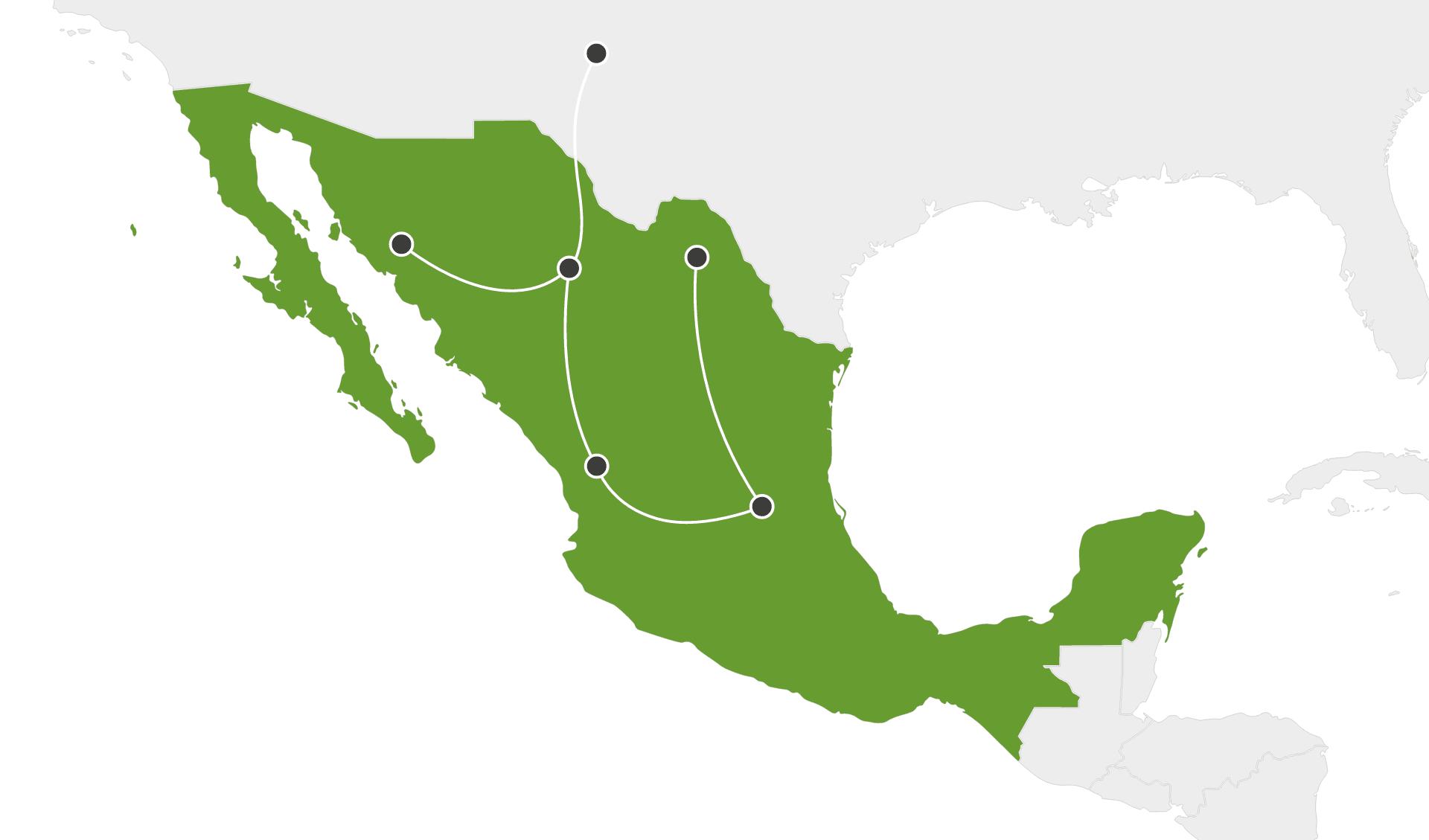 Karte Rundreisen länderübergreifend Mexiko