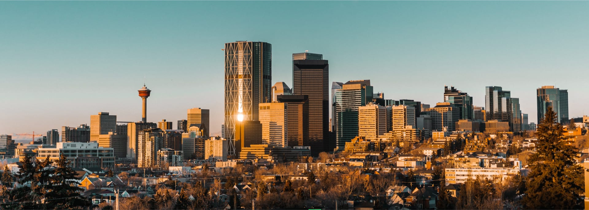 Calgary skyline in the early morning