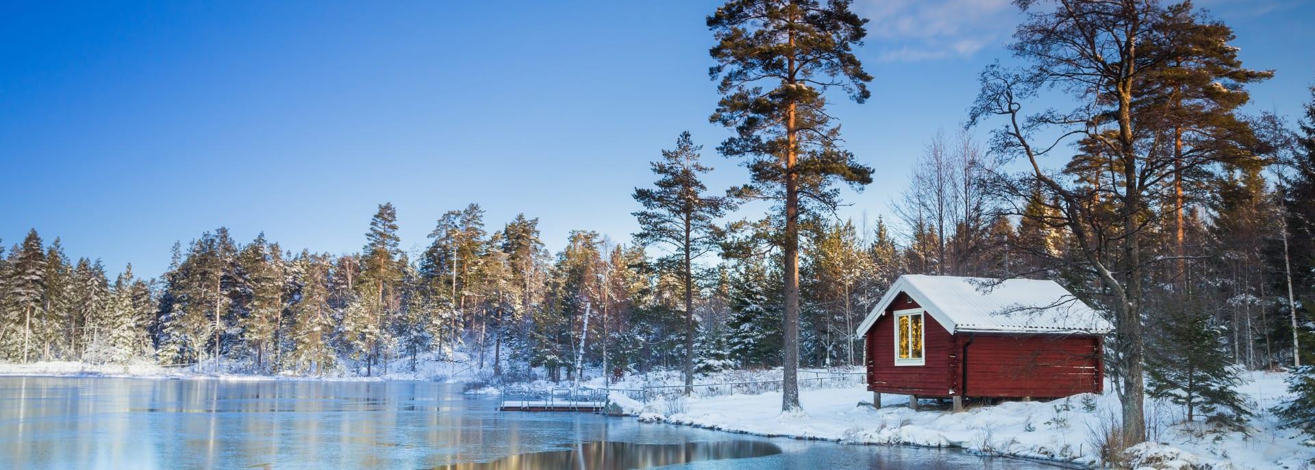 Eis mit Schnee, Schweden
