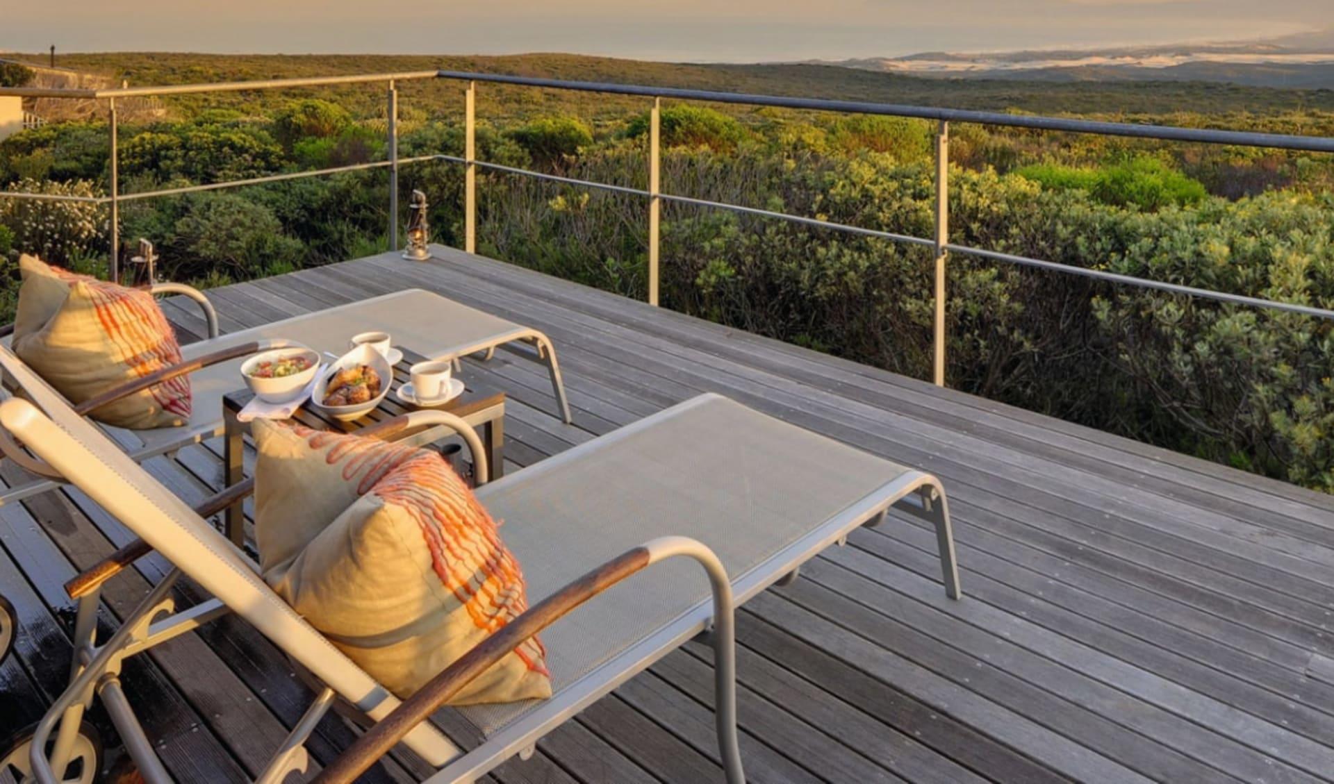 4 C's (Commerce, Conservation, Community & Culture) ab Kapstadt: Exterior Grootbos Private Nature Reserve Terrasse der Forest Lodge mit Liegestühle
