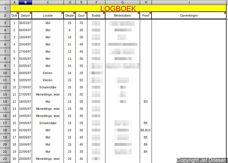 Jef's spreadsheet