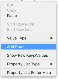 Adding row to info plist file