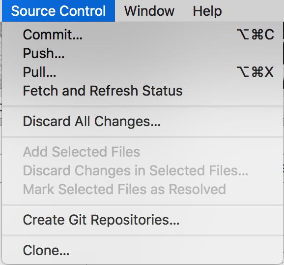 Source Control in menu bar
