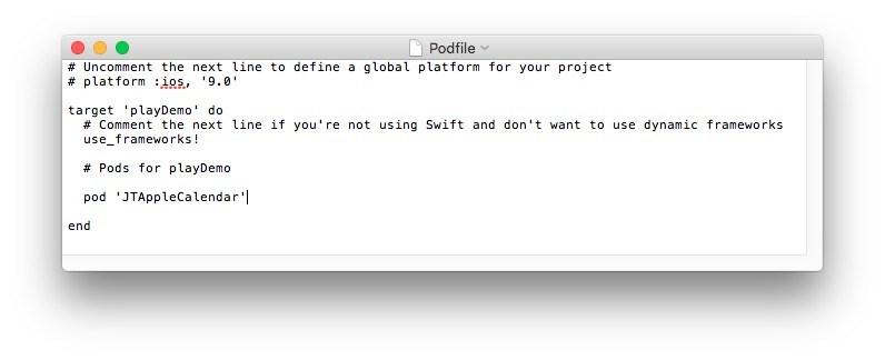 Text edit Podfile screenshot