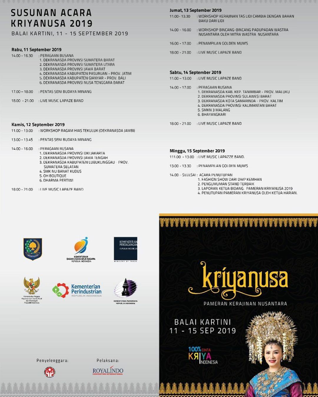 Catat! Susunan Acara Kriyanusa 2019
