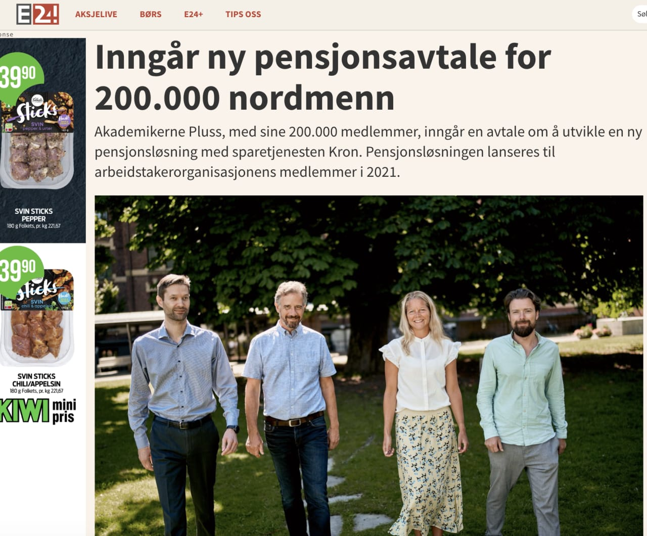 Kron og Akademikerne Pluss går sammen om pensjonsavtale til 220 000 medlemmer