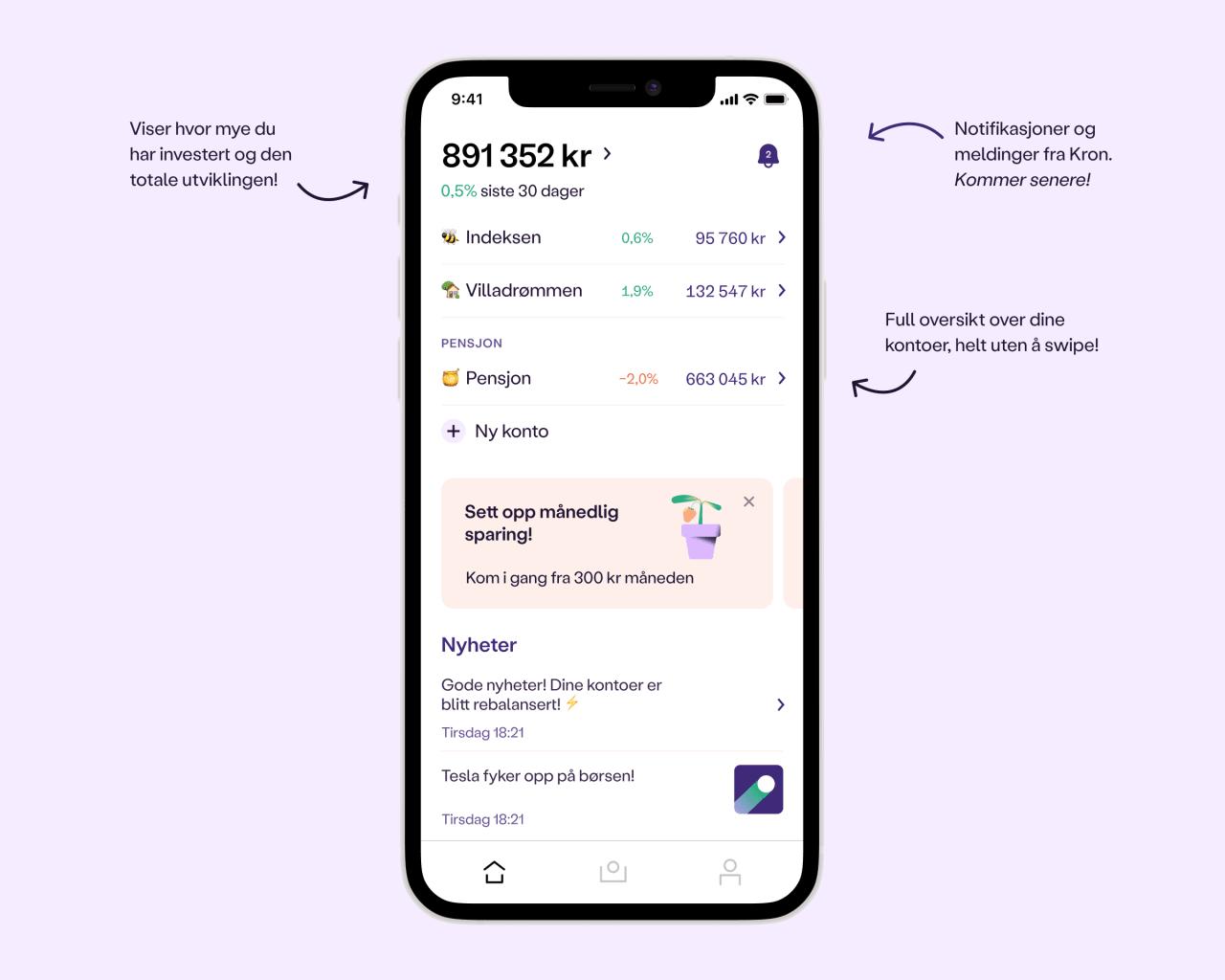 Et skjermbilde av det nye dashboardet i Kron-appen