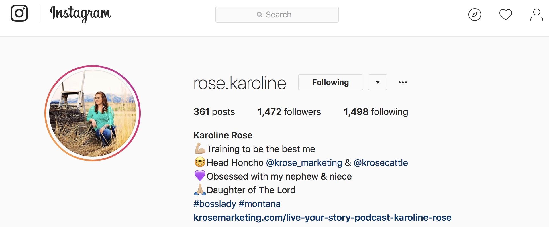 Karoline Rose of KRose Marketing Instagram
