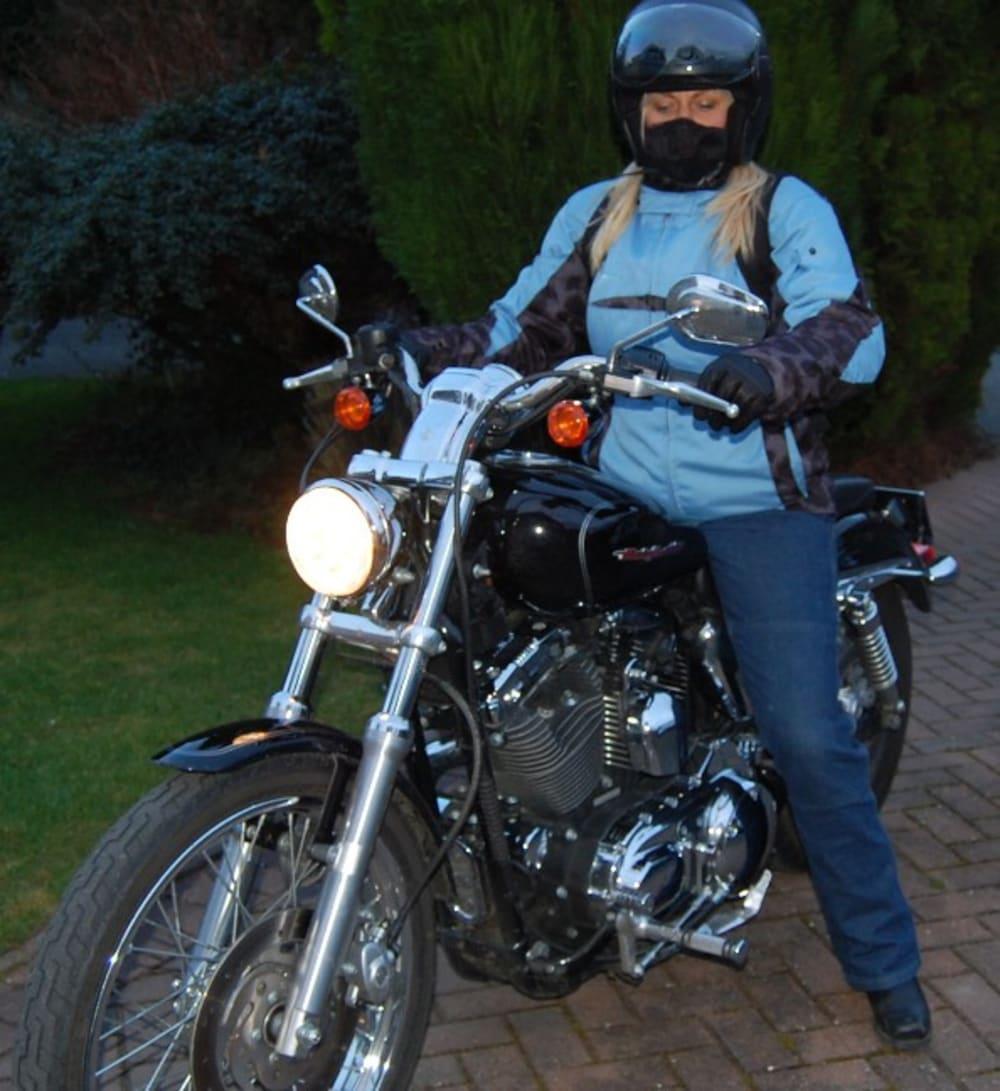 Jenny Belcher on her Harley Davidson