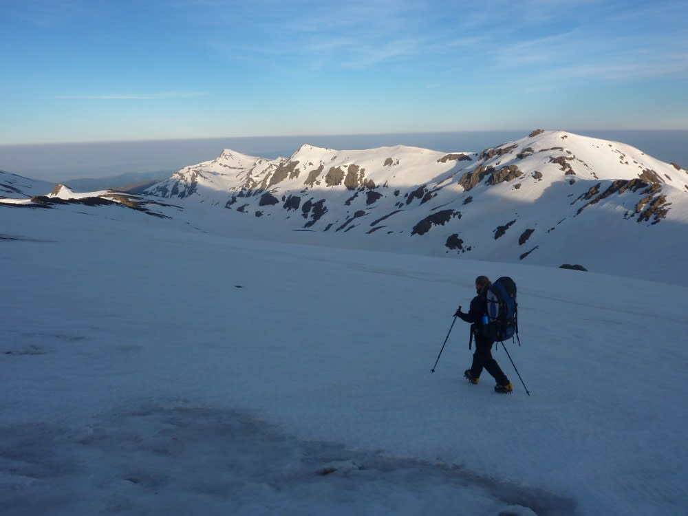 Setting out the next morning on lovely hard snow