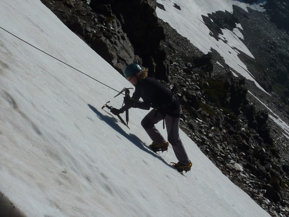 My first tentative steps at snow climbing