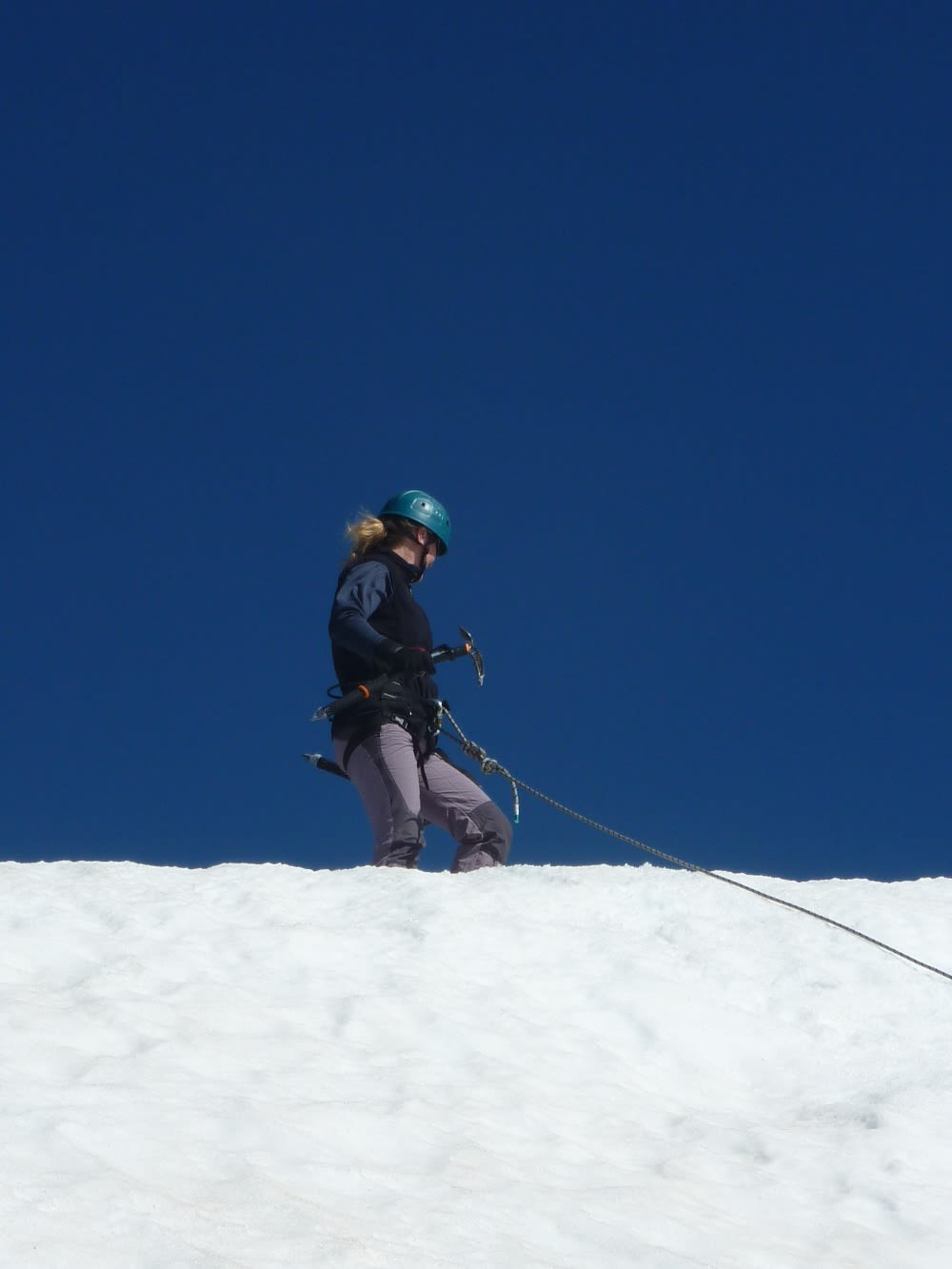 Arriving at the top. Perfect conditions, snow and blue sky