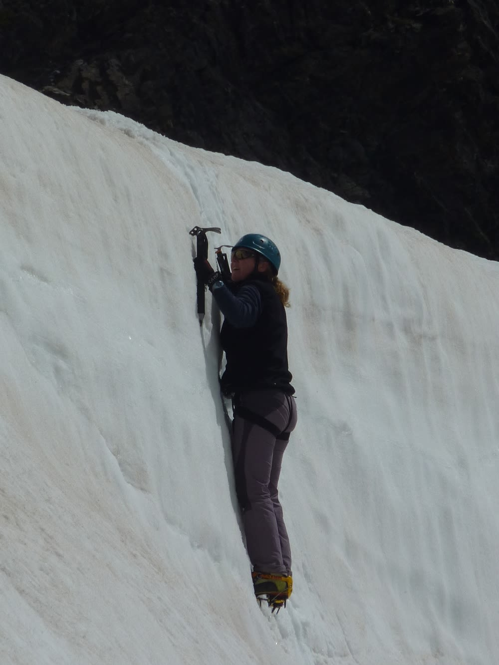 Errrr this part was vertical. I struggled to get foot placements as the snow was turning a little soft