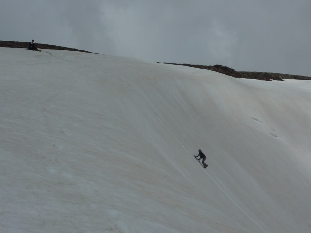 Luckily the cloud came in, its hard work doing this snow climbing
