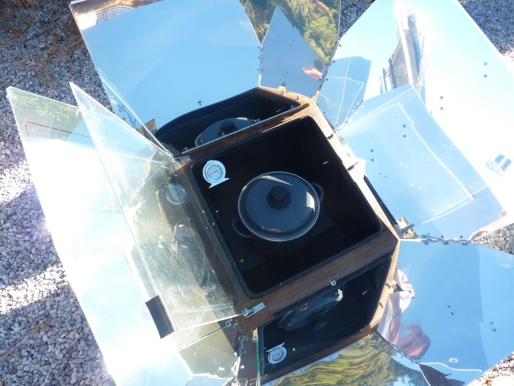 The Sun Oven - Our solar cooker, with Patatas a la Pobre cooking away