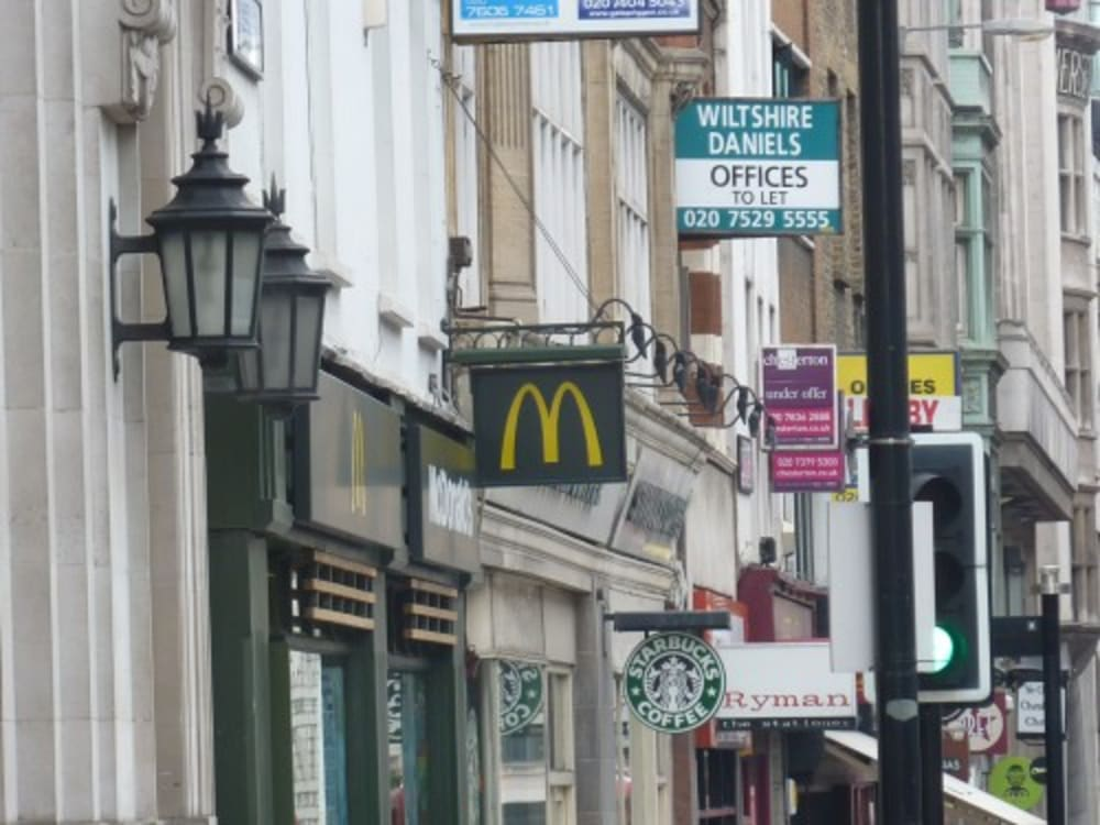 The McDonalds sign showing gold on black rather than the normal sign