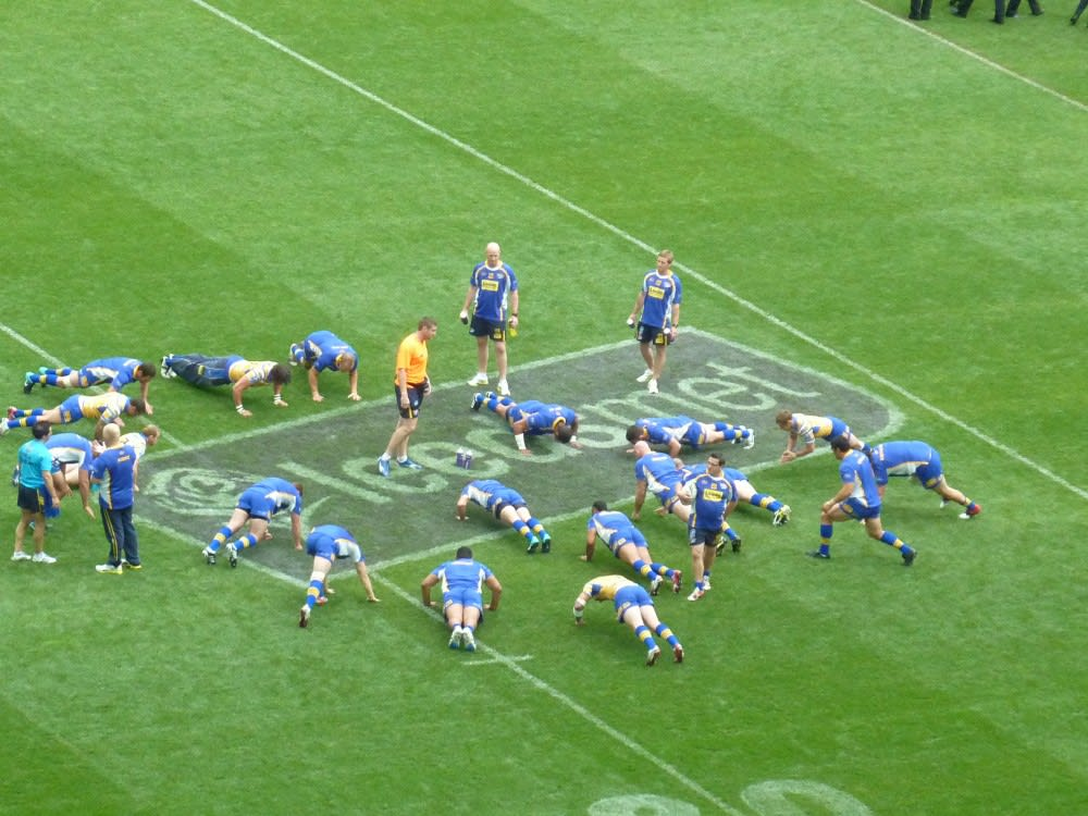 Leeds Rhinos team warming up before the game