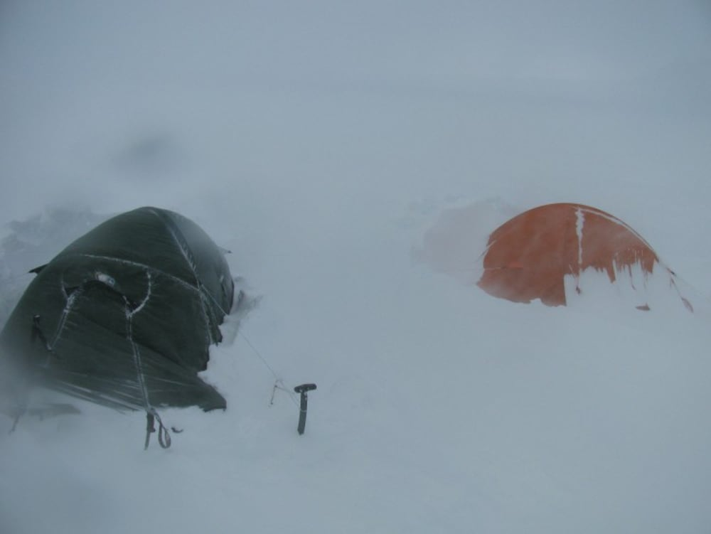 Our tents on the icecap, our orange one is nearly buried