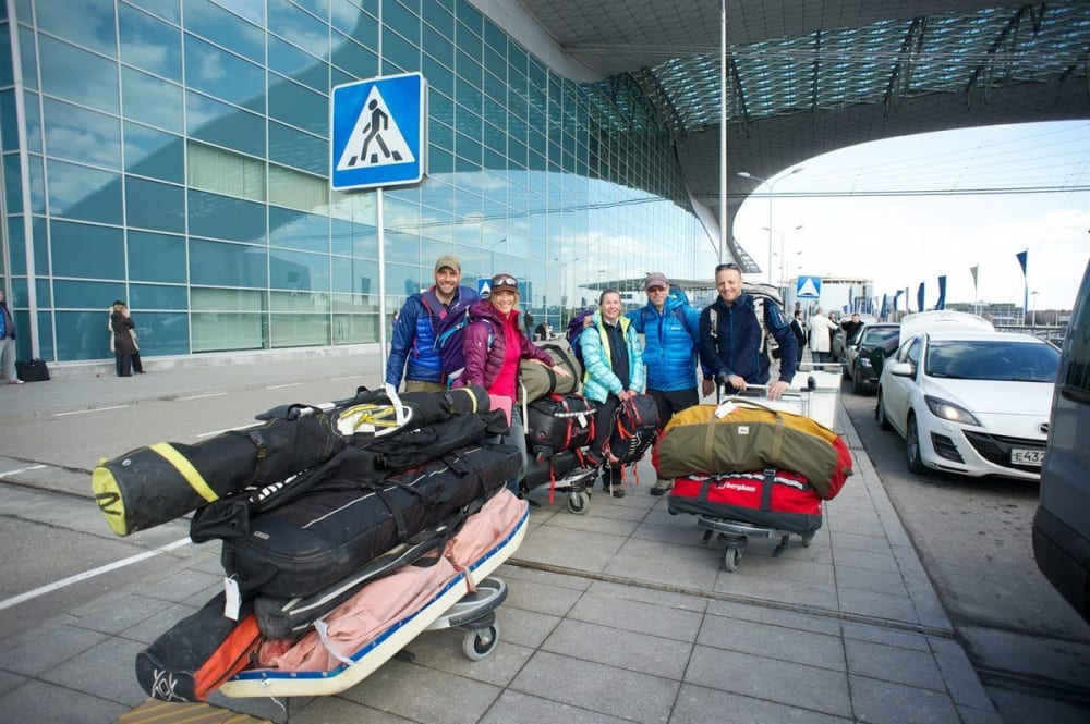 The team outside the airport in Moscow just before the fun starts. Photo courtesy of Martin Hartley