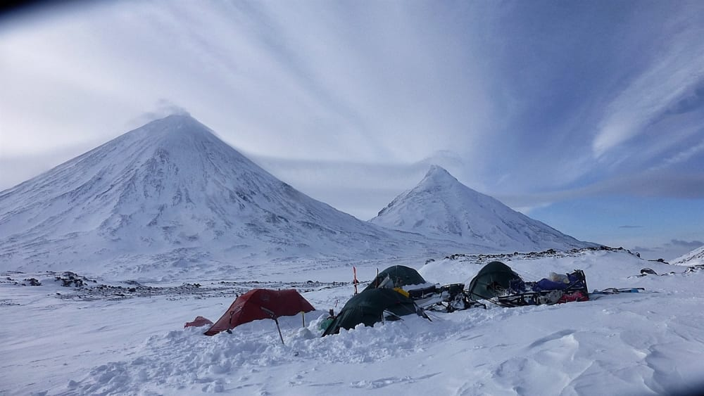 Emergency camp and the view after the worst of the weather had past