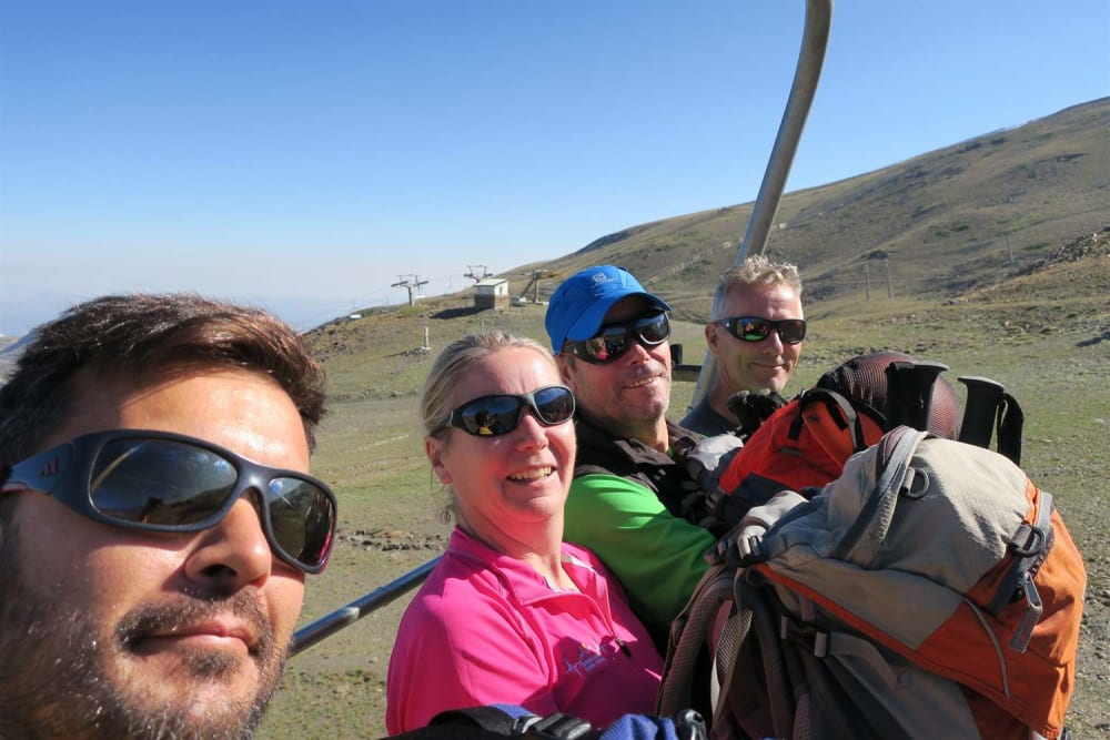 The four of us on the chair lift on our way up