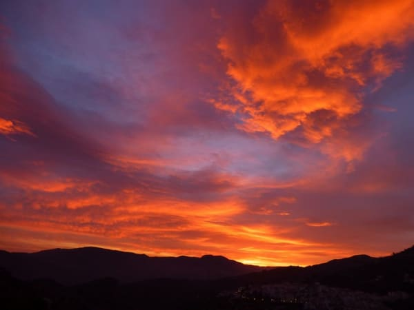 Sunset - the ever changing colours of the sky over Lanjaron