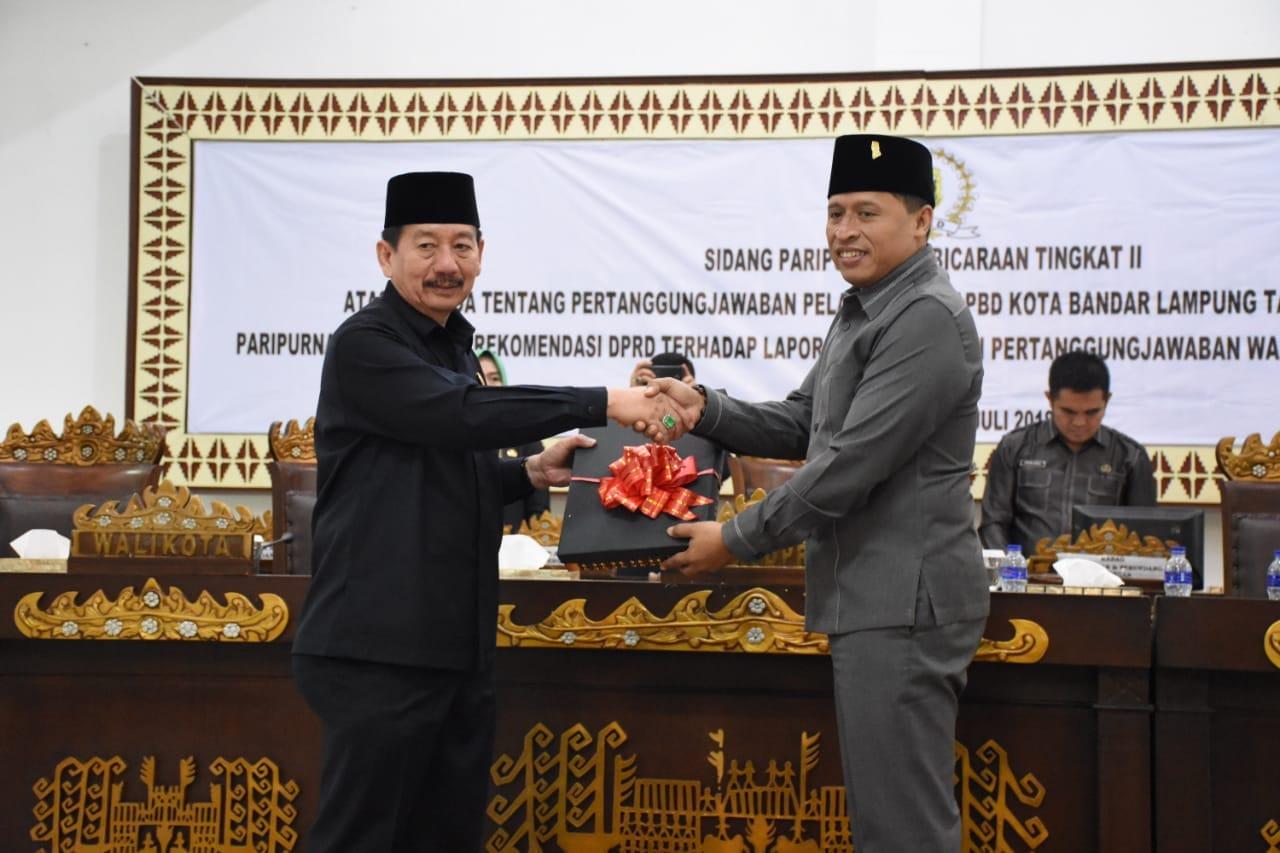 DPRD Bandar Lampung Sahkan LPj Walikota 2017