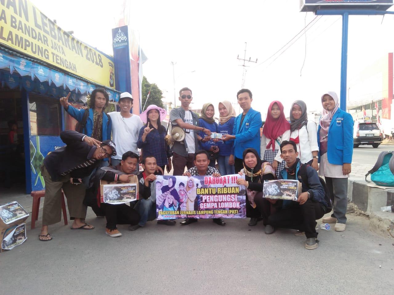 Paguyuban LTB dan PMII Turut Bergabung Dengan Jurnalist Lamteng Galang Dana Peduli Lombok