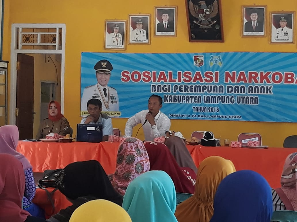 Dinas PP-PA dan Polres Lampung Utara Sosialisasikan Bahaya Narkoba di Desa Kemalo