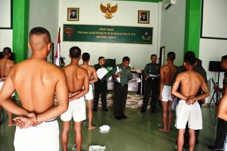 Korem 043/Gatam Gelar Sidang Parade Caba PK TNI AD Tahun 2018