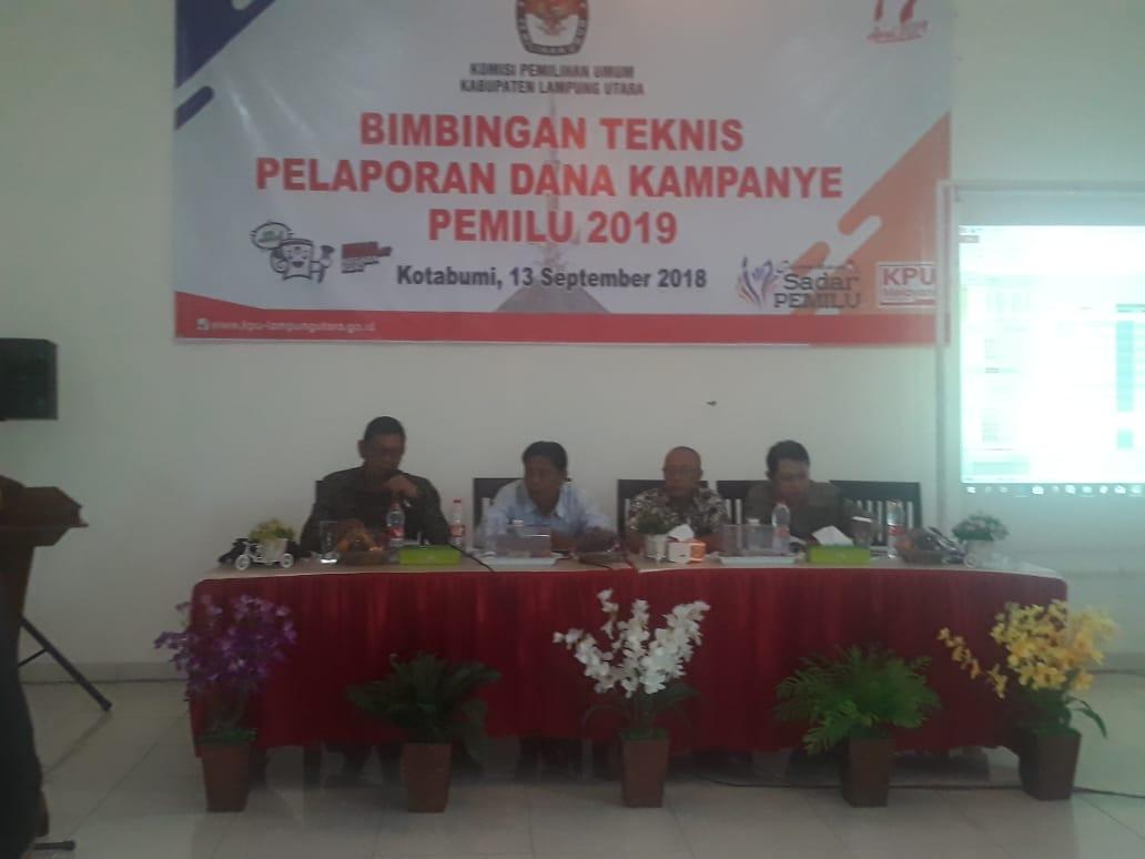 KPU Lampung Utara Gelar Bimtek Laporan Dana Kampanye Pemilu 2019