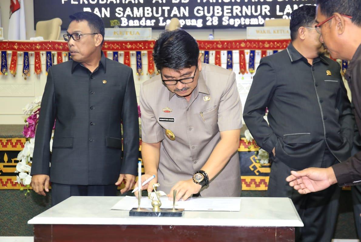 Raperda Perubahan APBD Lampung Ditandatangani, 1 Oktober 2018 Diajukan ke Kemendagri