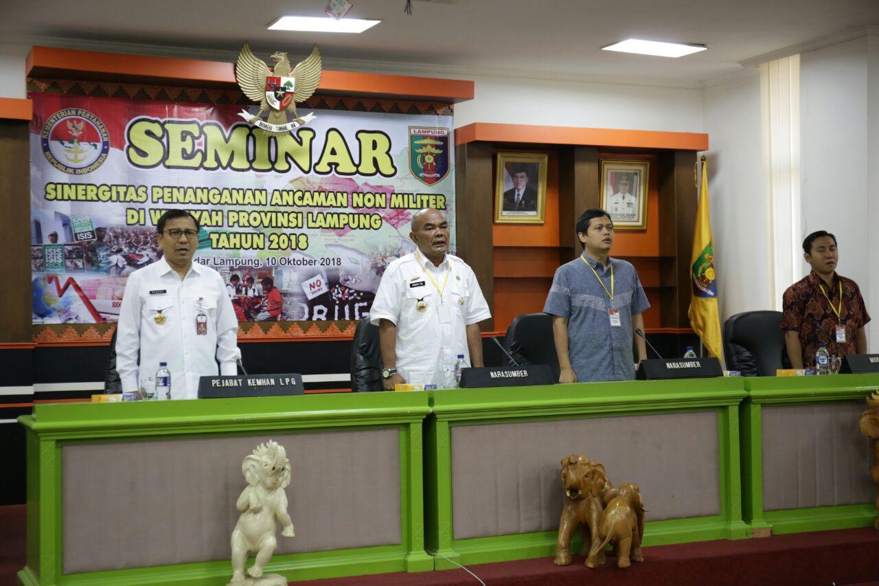 Kemenhan Perwakilan Lampung Gelar Seminar Sinergitas Pengamanan Ancaman Non Militer